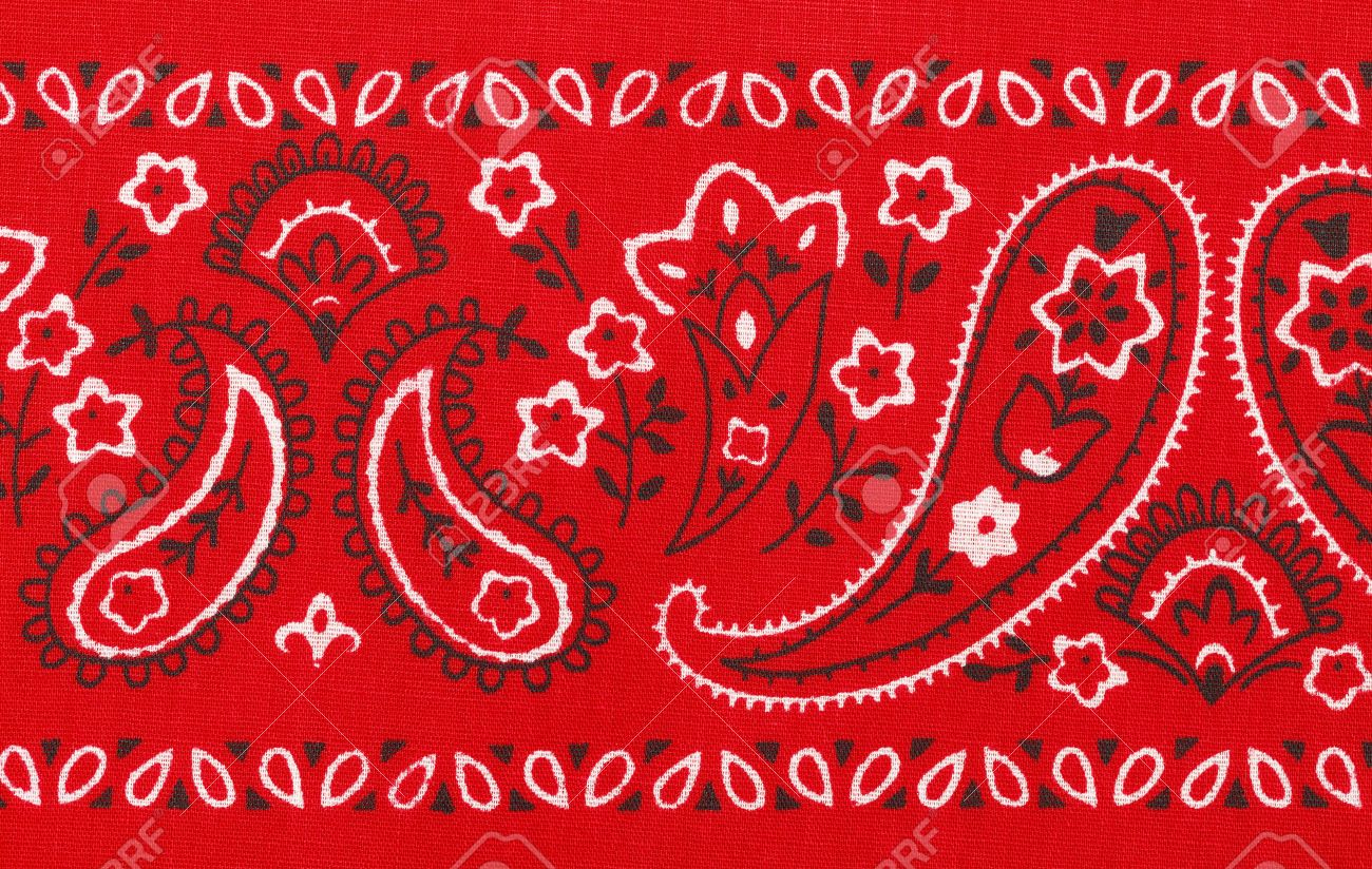 Red Bandana Close Up with Flower Paisley Design. - 38377777