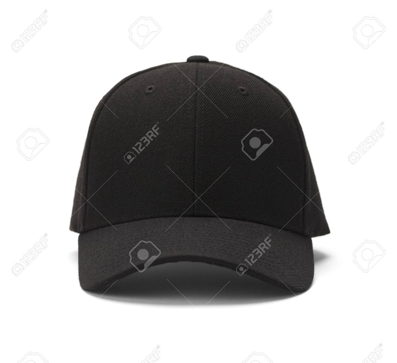 Front View of Black Cap Isolated on White Background. - 38377791