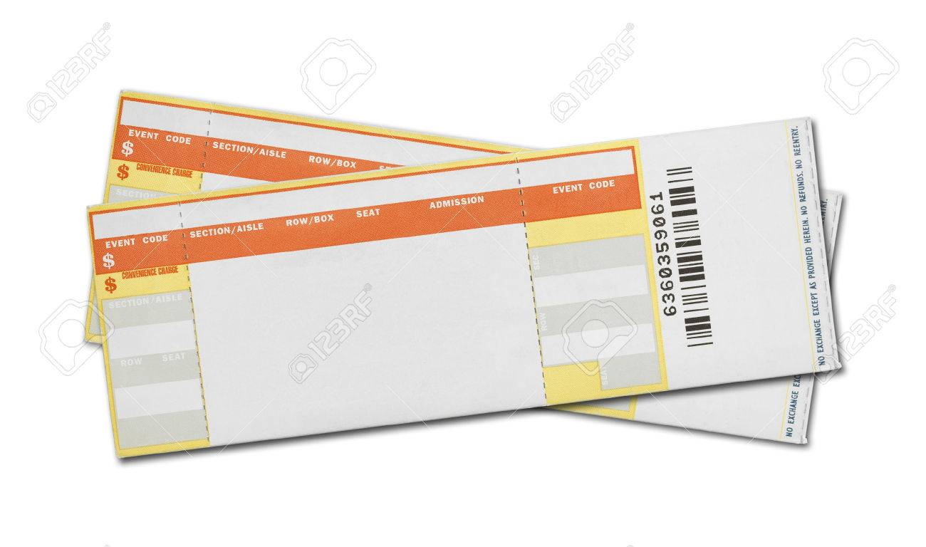 Blank Concert Ticket Template Service Receipt 38266425 Pair Of Blank  Concert Tickets Isolated On White Background  Printable Concert Ticket Template