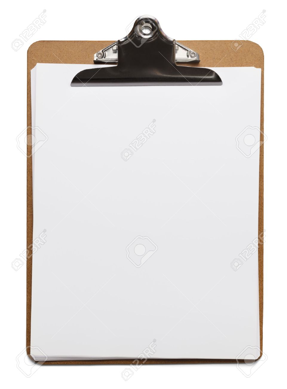 classic brown clipboard with blank white paper on isolated