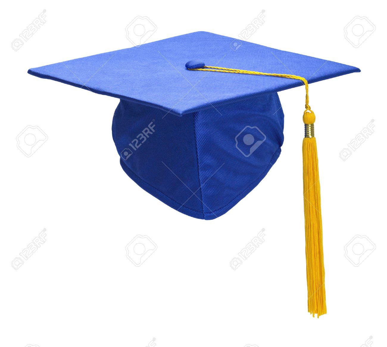 Blaue Abschluss Hut Mit Goldquasten Einzeln Auf Weißem Hintergrund