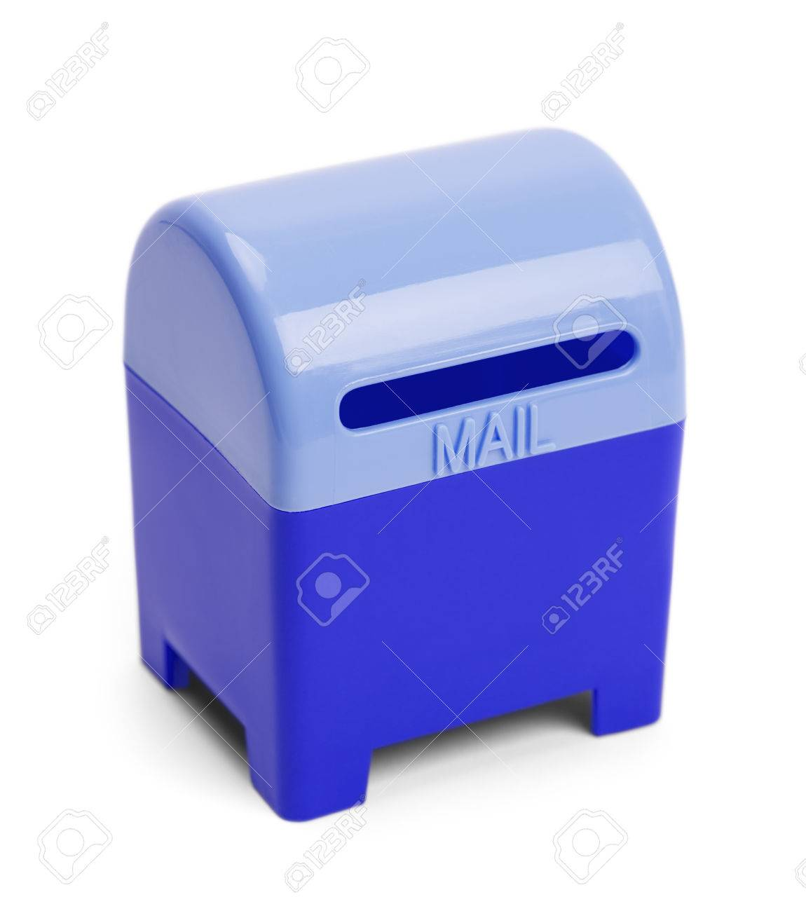Blue Mail And Letter Drop Box Isolated On White Background. Stock
