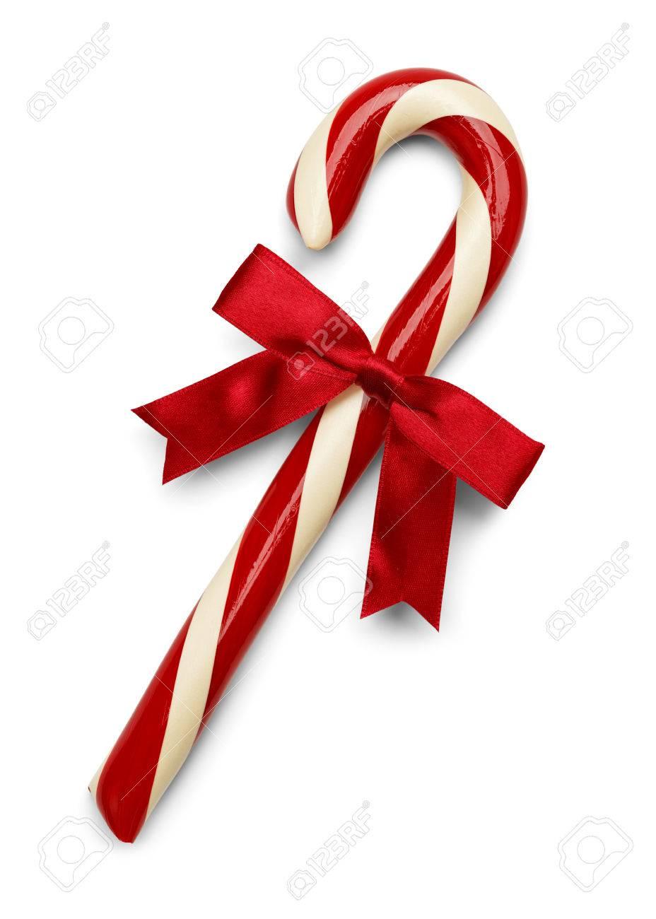 Weihnachten Candycane Mit Roter Schleife Auf Weißem Hintergrund ...