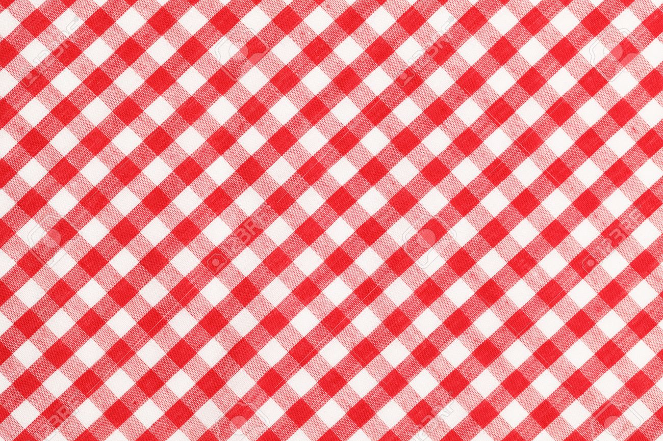 Red And White Checkered Table Cloth Background. Stock Photo   38259605