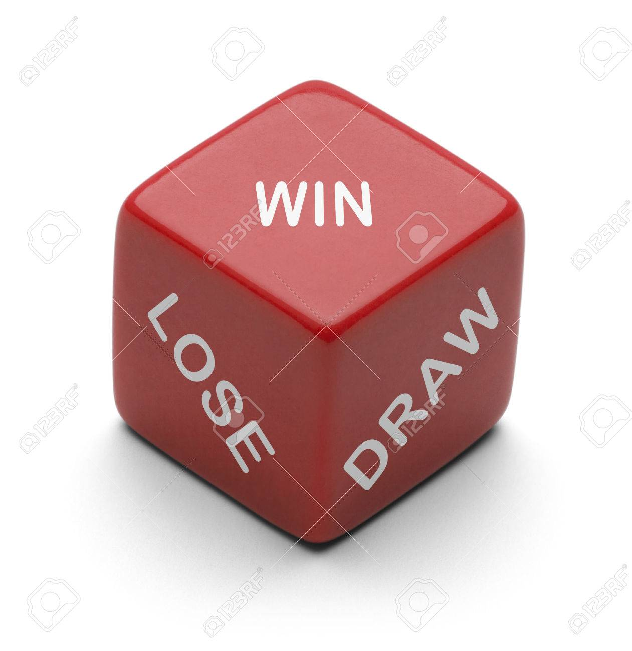 Red Dice With The Words Win Lose And Draw On It Isolated On Stock