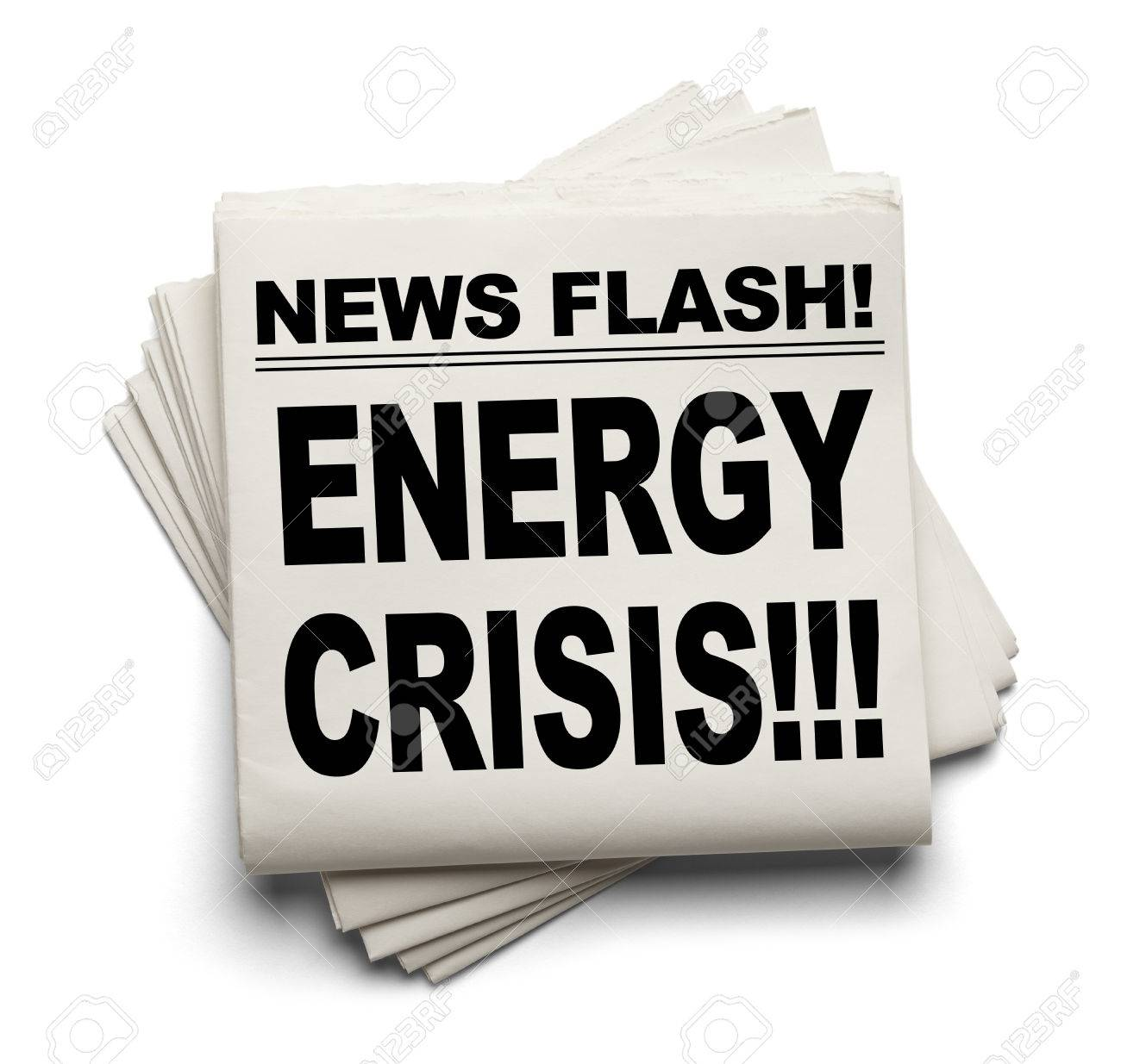 News Flash Energy Crisis News Paper Isolated on White Background