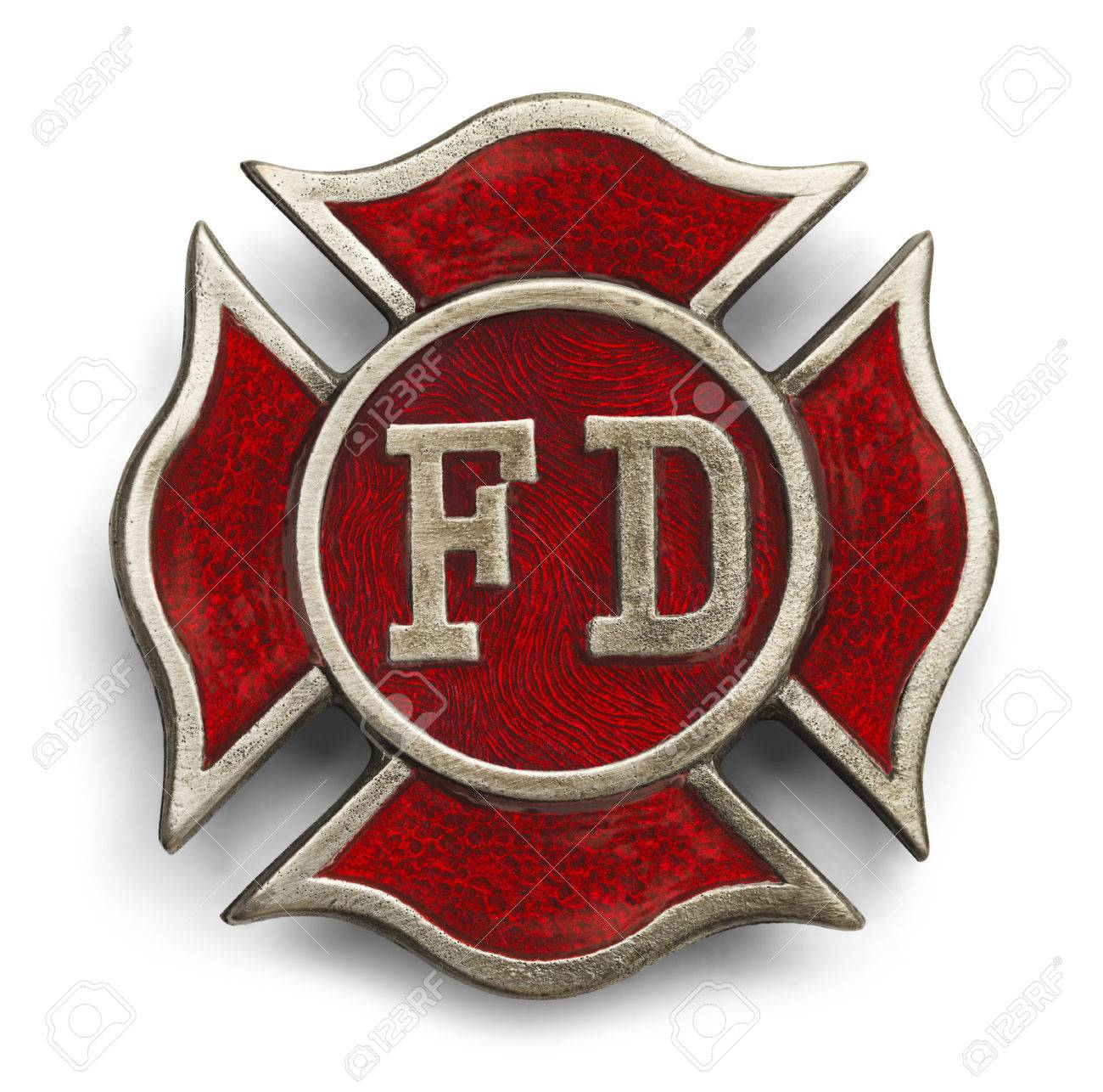 Red Cross Fire Fighter Symbol Isolated On White Background Stock