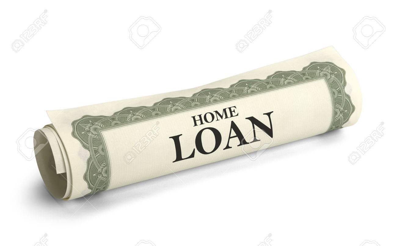 Rolled Up Home Loan Contract Isolated On White Background – Loan Contract