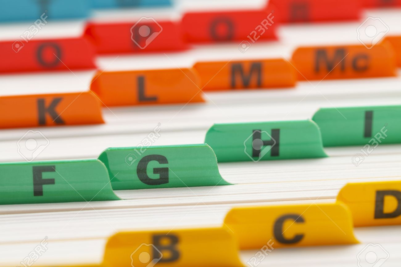 Alphabetical Color Coded Business Card File System. Stock Photo ...