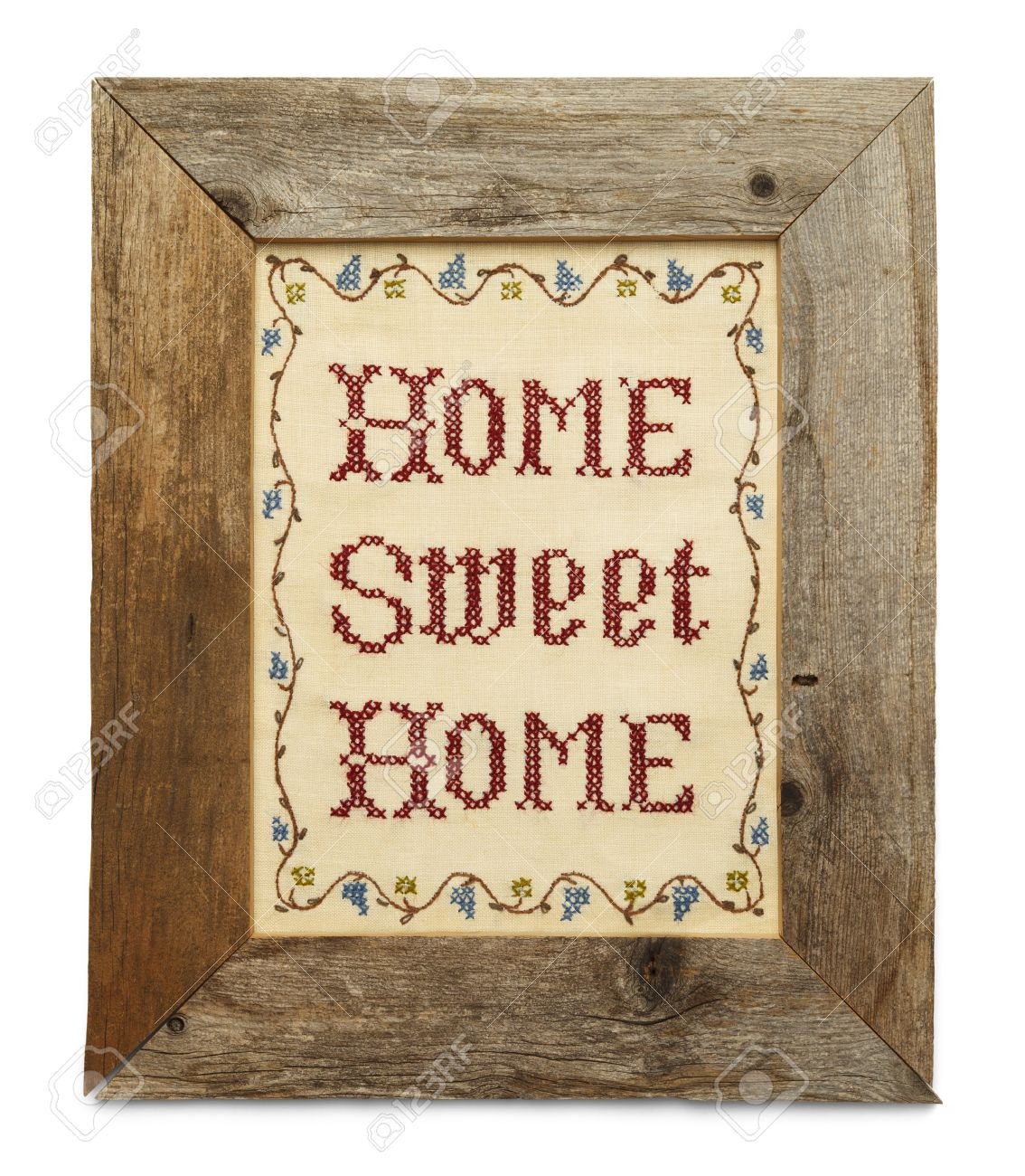 Home Sweet Home Cross Stitch In Rustic Wood Frame Isolated On