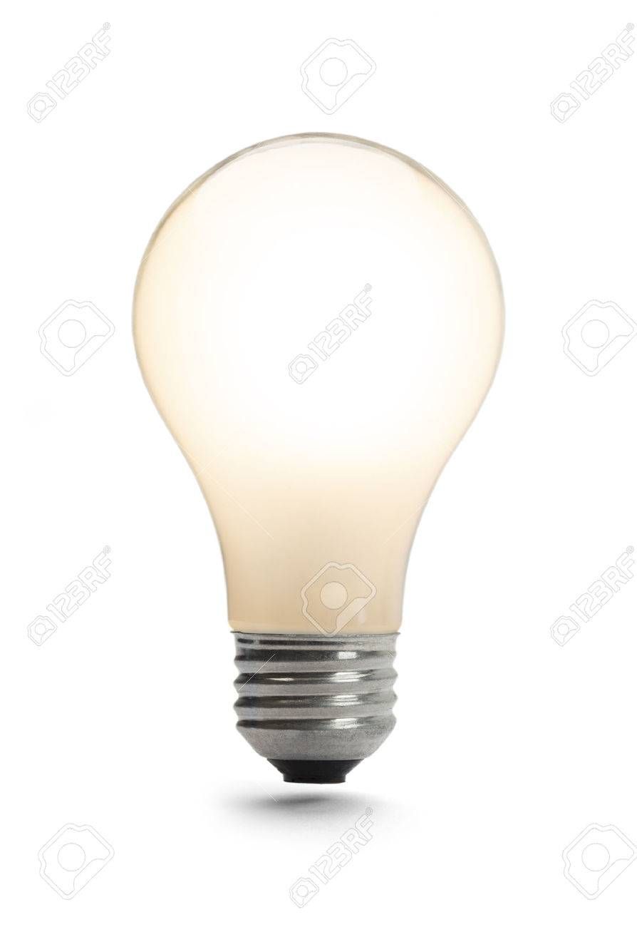 8c2e2f0baec Classic Light Bulb Lit Up Isolated on a White Background. Stock Photo -  38251284