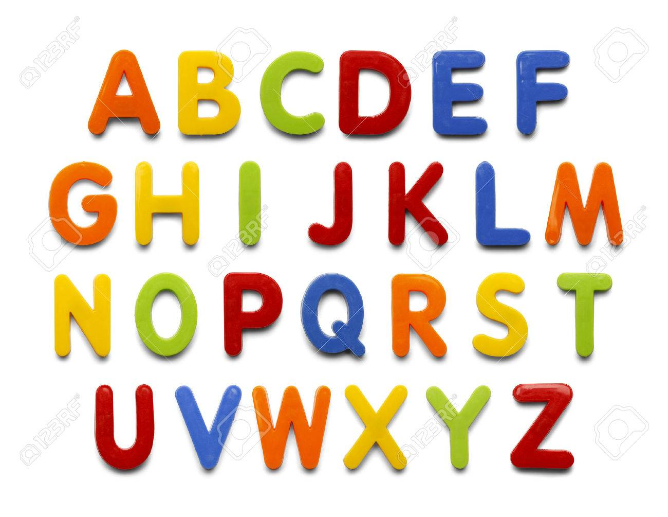 magnetic plastic abc letters isolated on white background stock