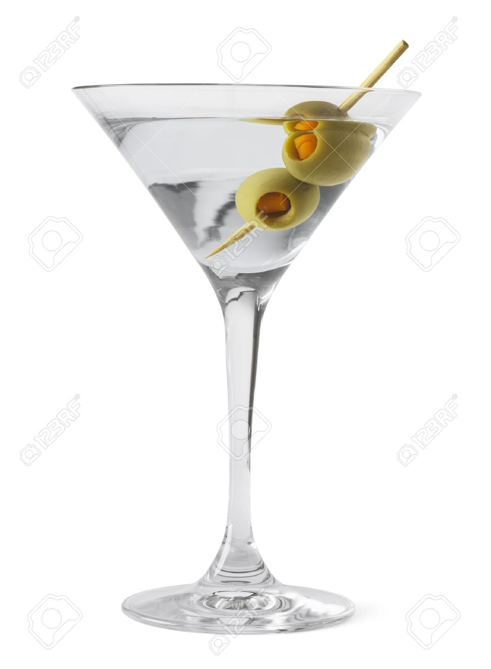 Martini Glass And Alcohol With Green Olives Isolated On White
