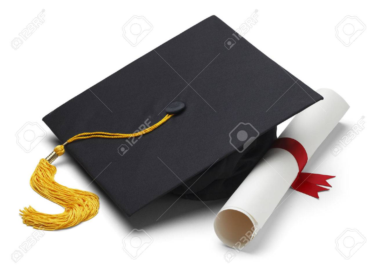 Free coloring pages graduation caps - Graduation Cap Black Graduation Cap With Degree Isolated On White Background