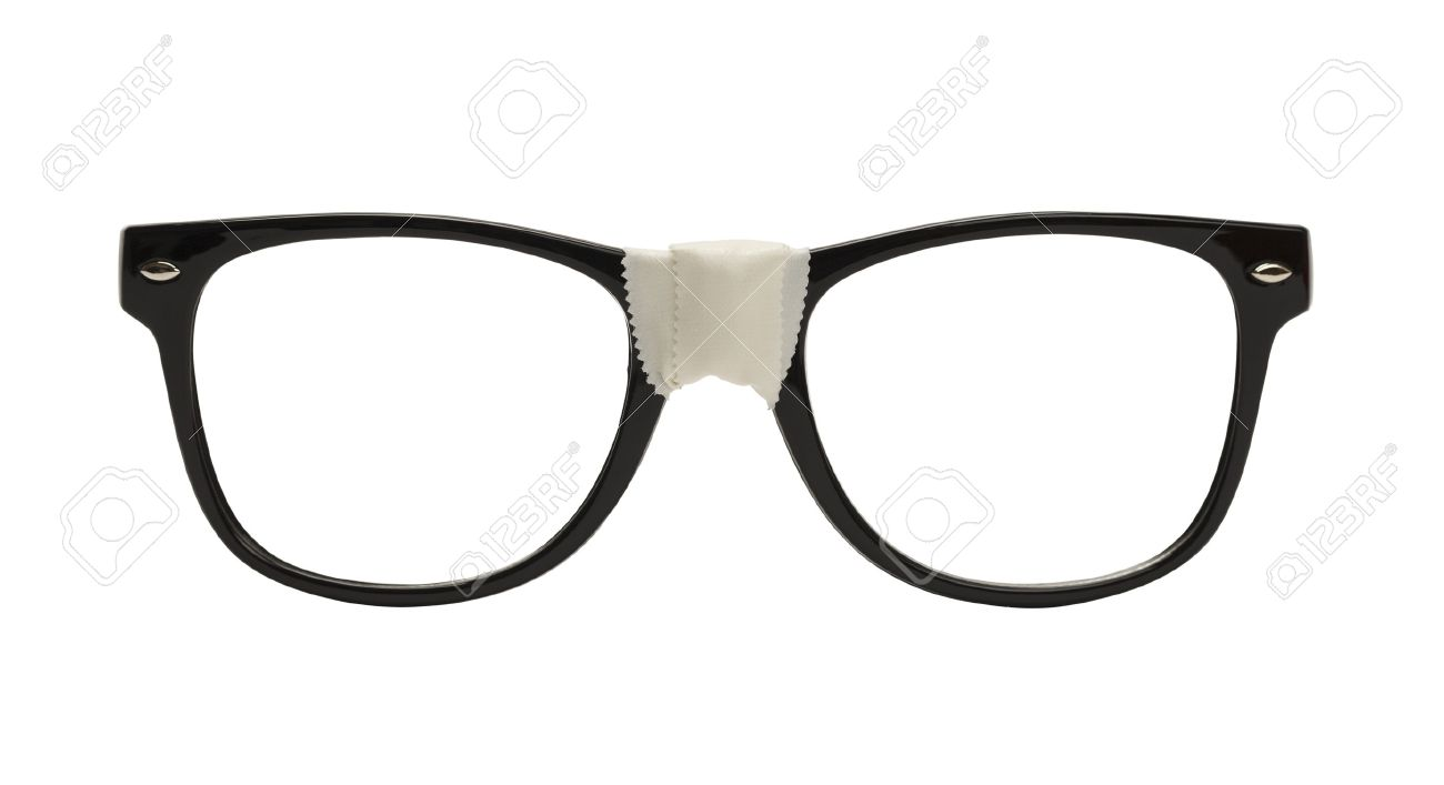 535dfbef90b Front View Black Nerd Glasses With Tape