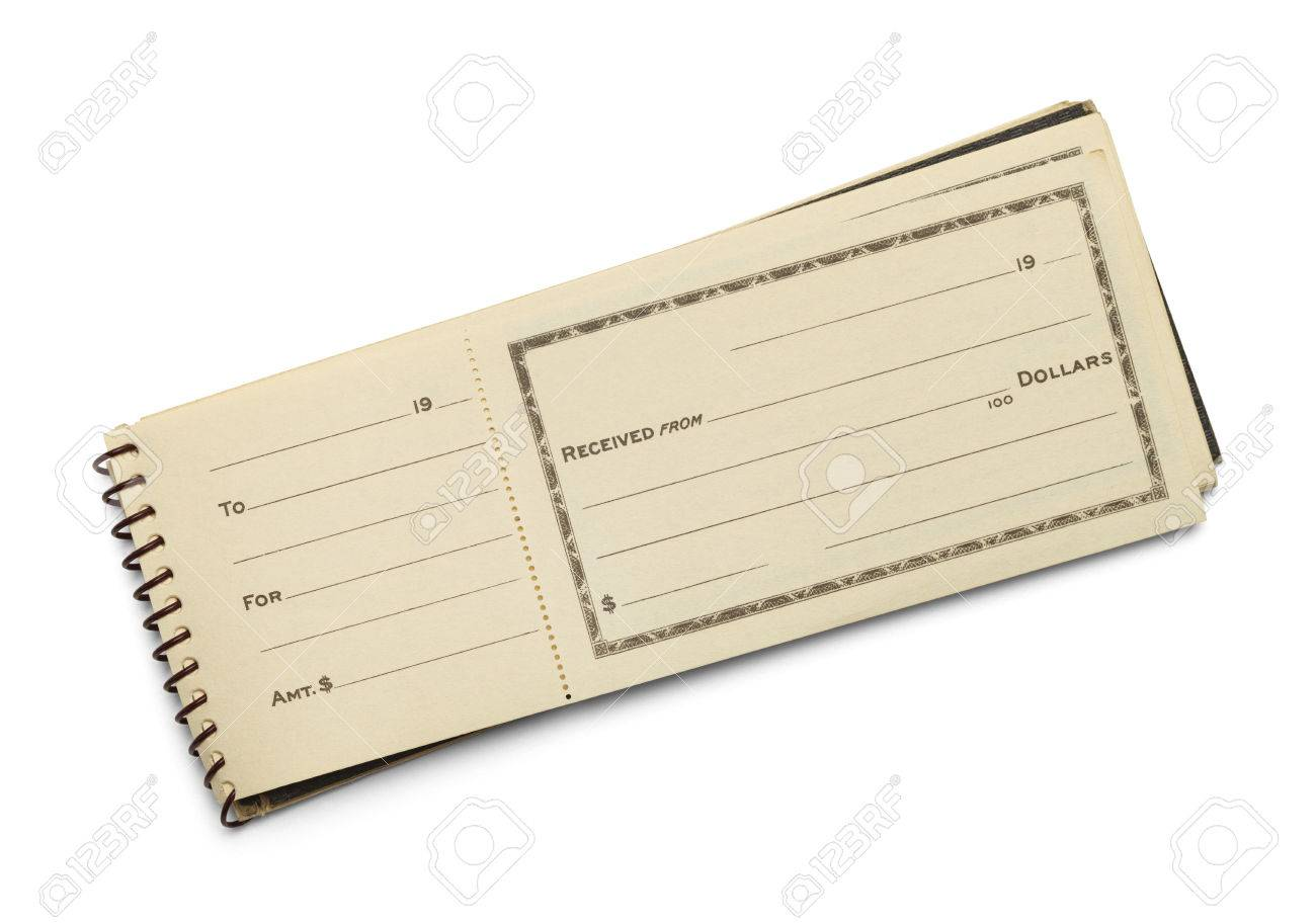 Old Receipt Book With Copy Space Isolated On White Background ...