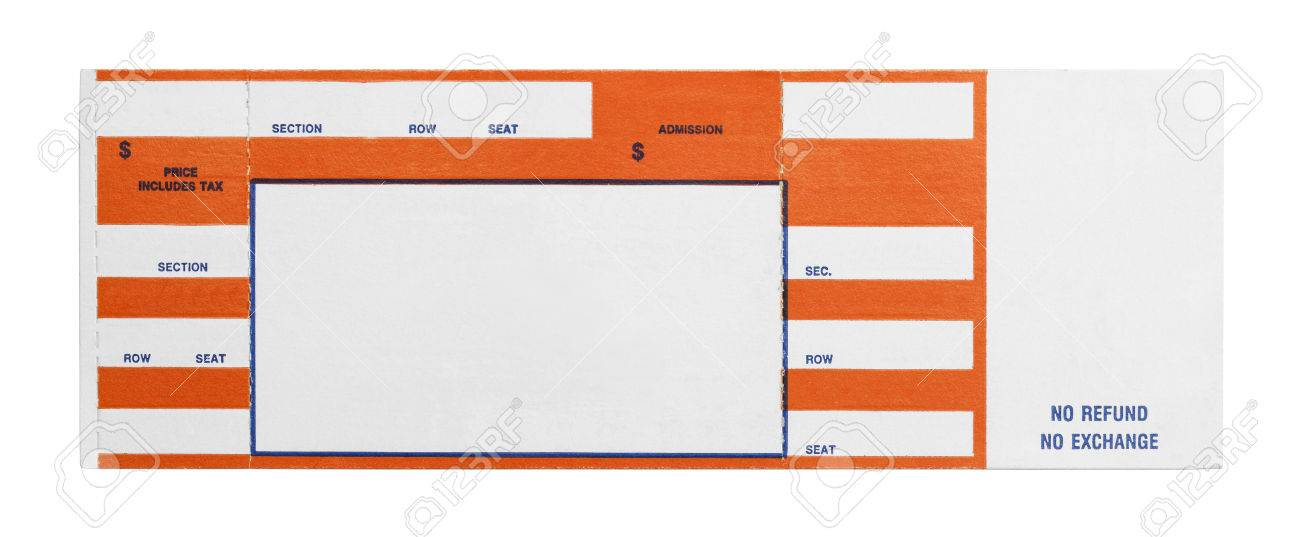 Blank Orange Concert Performance Ticket Isolated On White Background. Stock  Photo   38249190  Blank Ticket