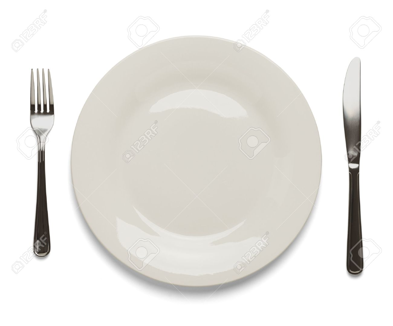 Dinner Plate With Silverware Isolated On White Background Stock Photo Picture And Royalty Free Image Image 38248625
