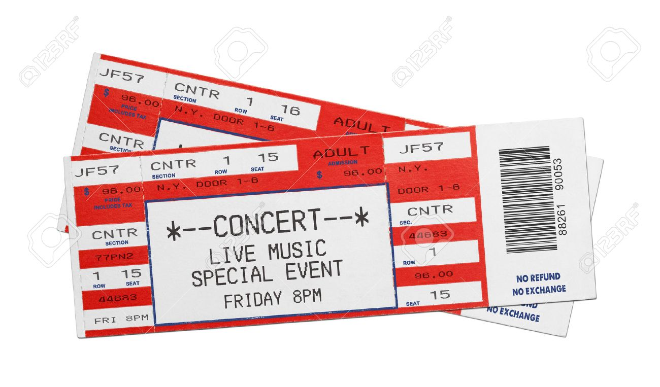 Pair Of Blank Red Concert Performance Tickets Isolated On White Background.  Stock Photo   38311352  Blank Ticket