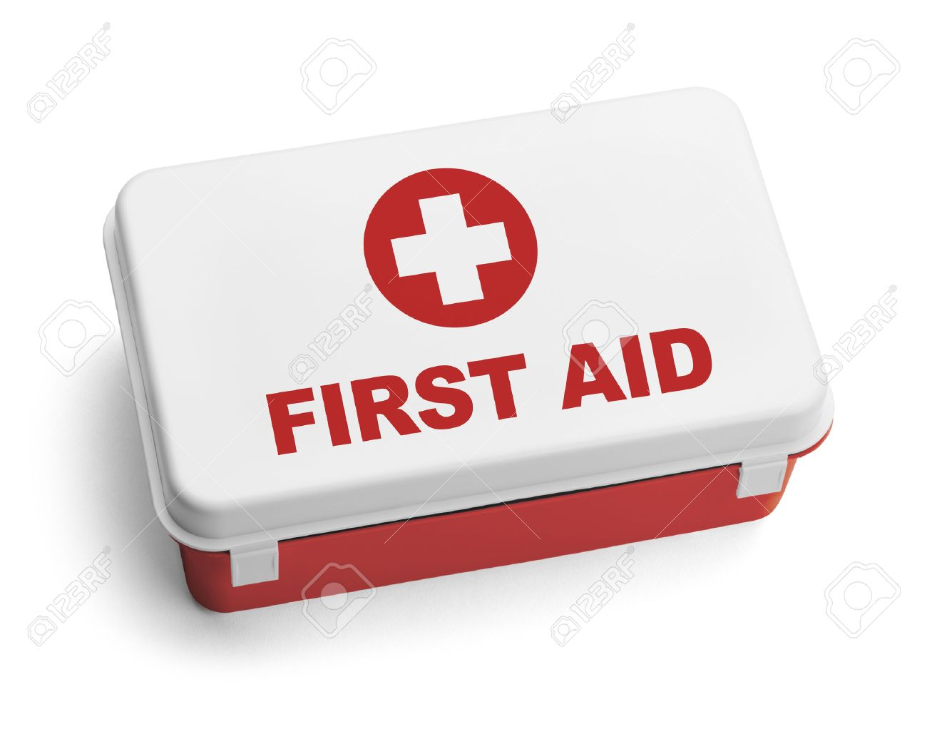 Red And White Plastic First Aid Kit Box Isolated On White Background Stock Photo