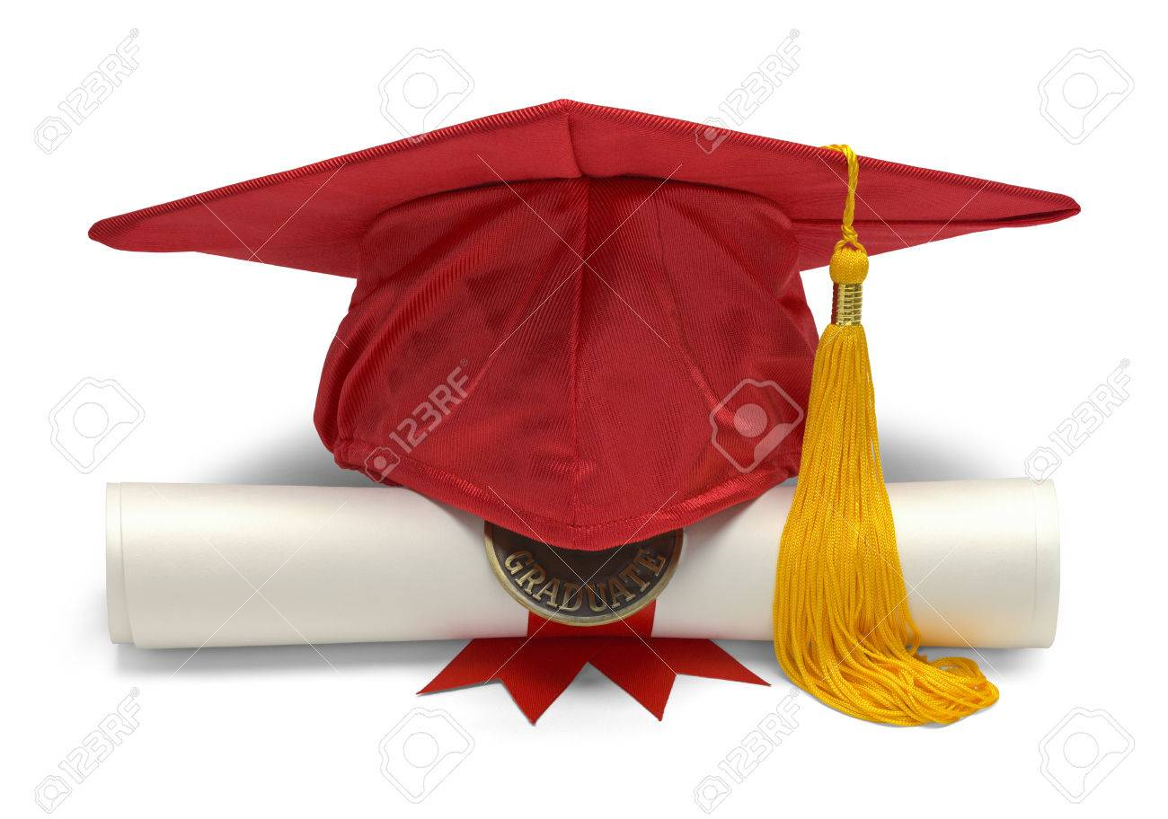 Graduation Hat and Diploma Front View Isolated on White Background. - 38384361