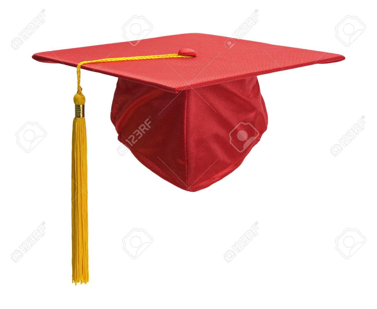 Rote Abschluss Hut Mit Goldquasten Einzeln Auf Weißem Hintergrund
