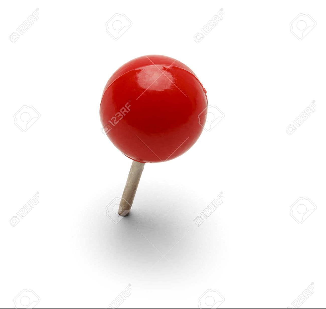 Round Red Thumb Tack Pushpin Isolated On White Background. - 38384650