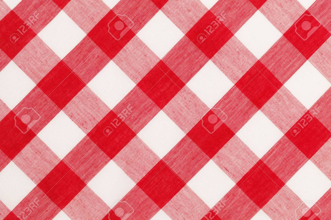 Large Red And White Checkered Table Cloth Background. Stock Photo   38311703