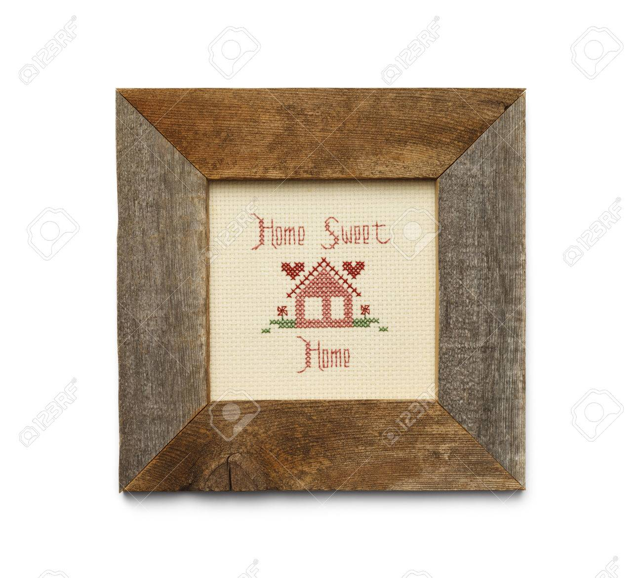 Home Sweet Home Cross Stitch In Square Wood Frame Isolated On