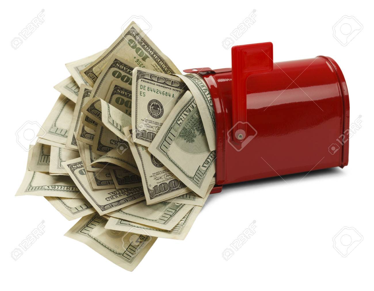 Red Mail Box With Money Pouring Out Isolated On White Background ...