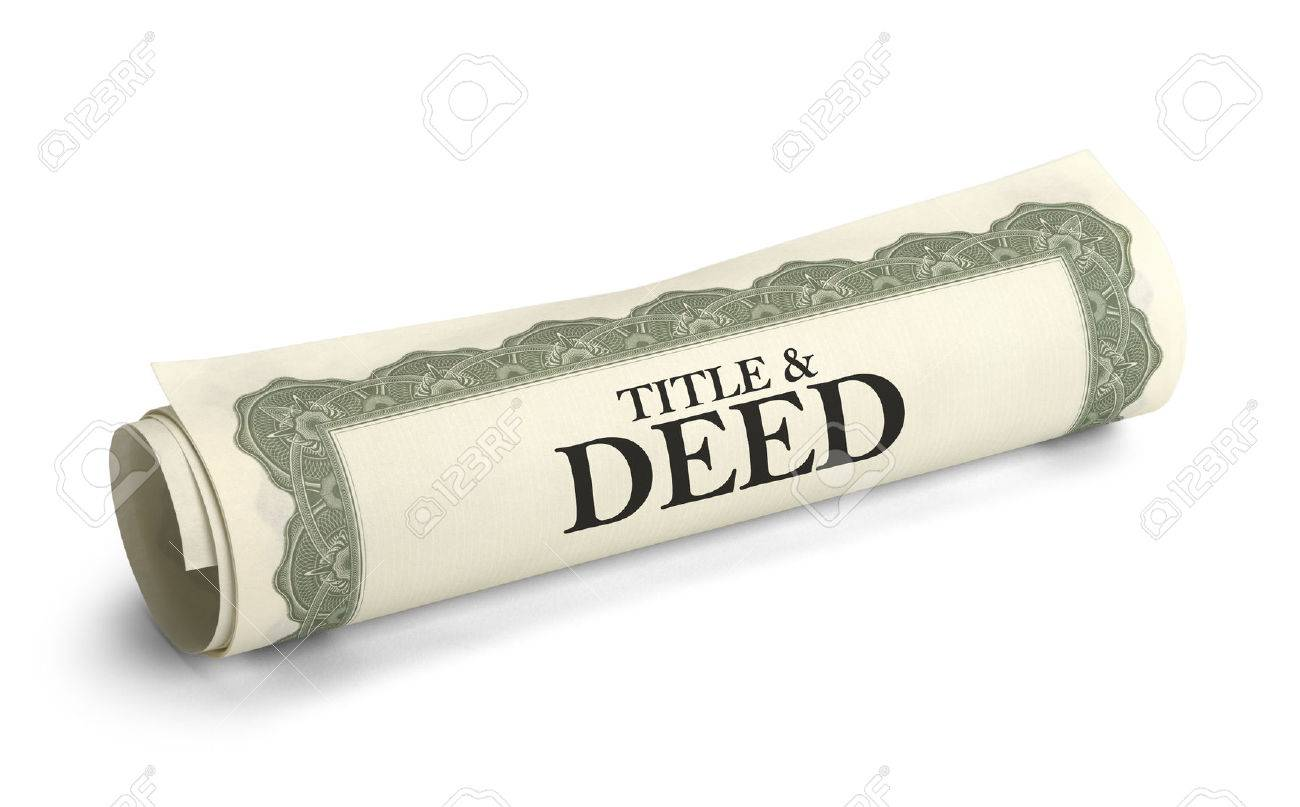 Title and Deed Paper Document Rolled and Isolated on a White Background. - 38386462