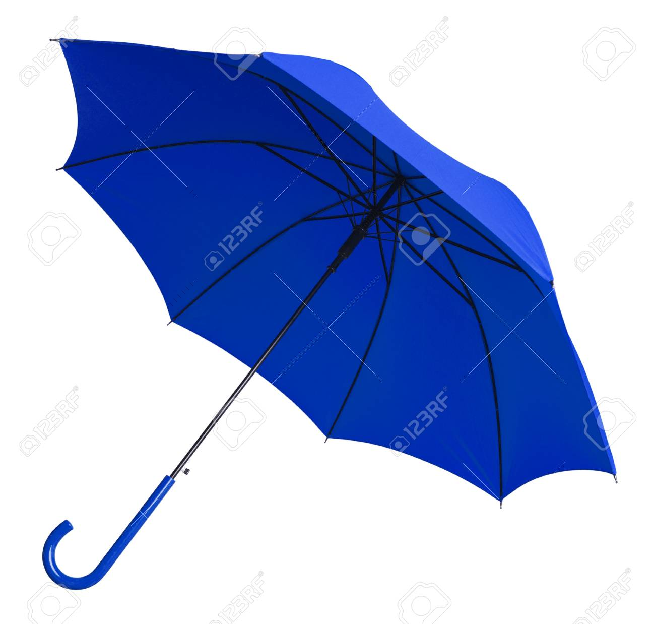 Bright Blue Umbrella Tilted Isolated on White Background. - 38386488