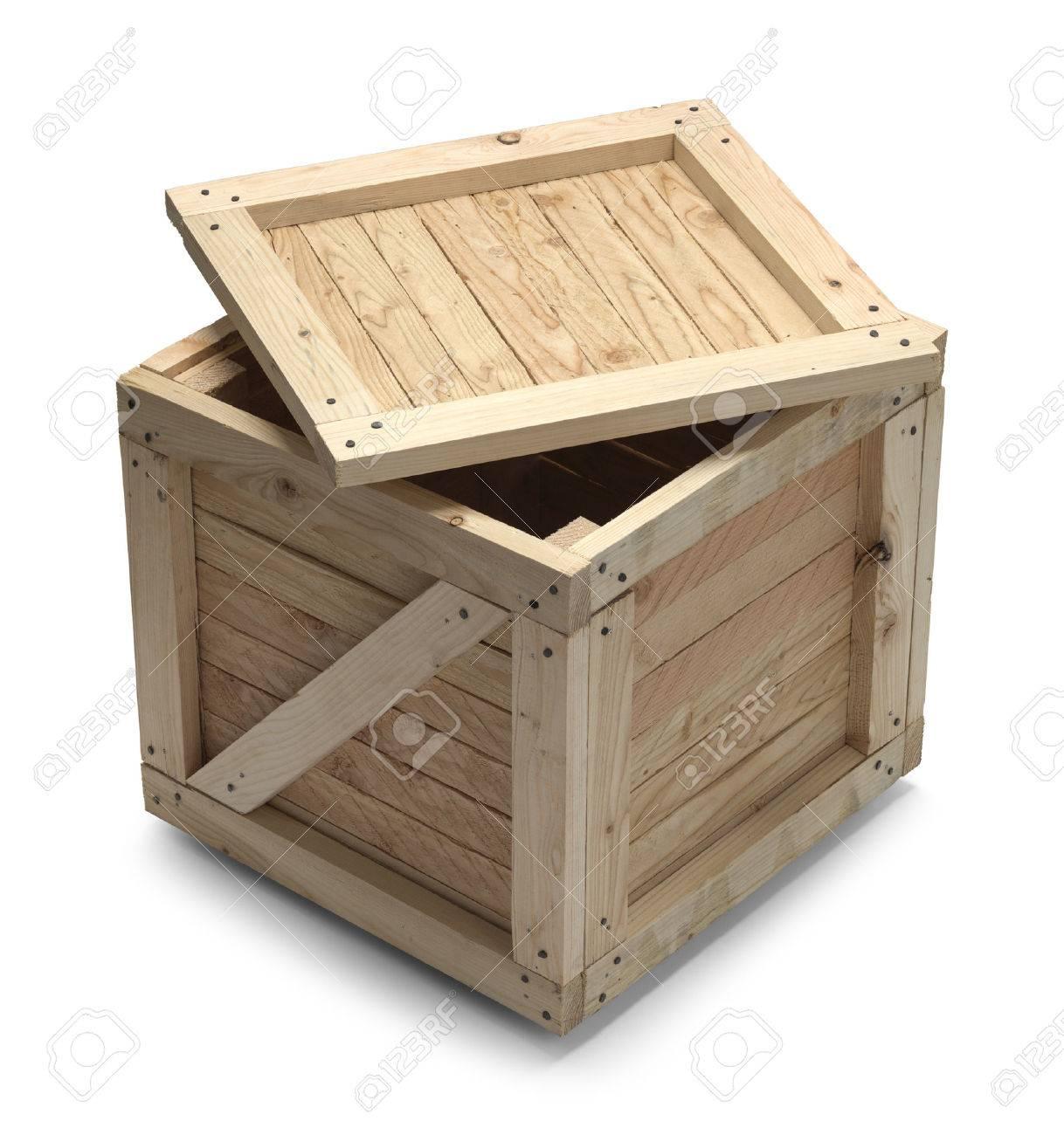 Witte Houten Box.Houten Kist Met Open Deksel Geisoleerd Op Witte Achtergrond