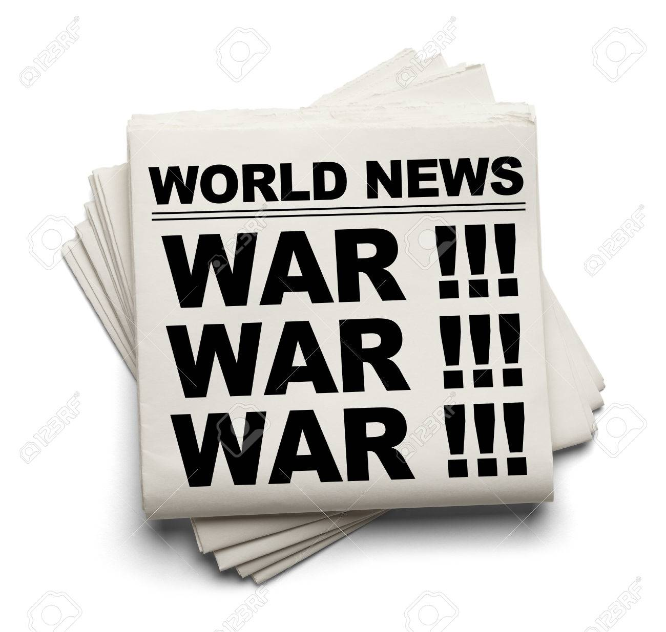 world news paper headline war isolated on white background. stock