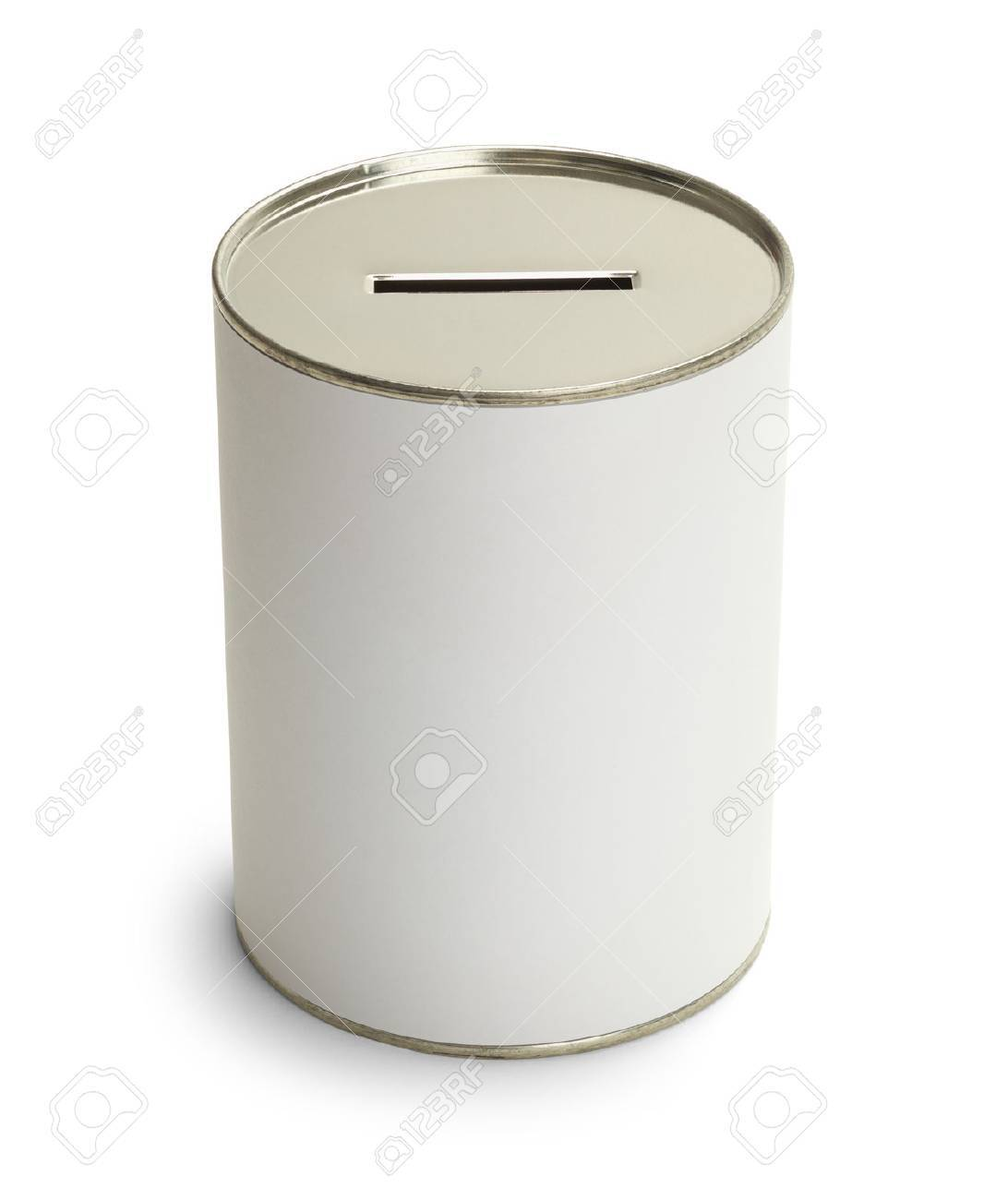 White Donation Can With Copyspace Isolate on White Background. - 38386587