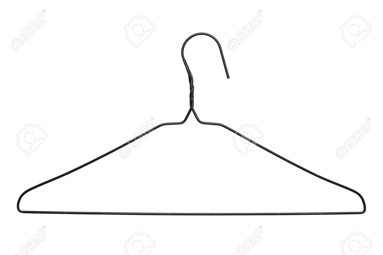 Thin Black WIre Clothes Hanger Isolated On White Background. Stock ...