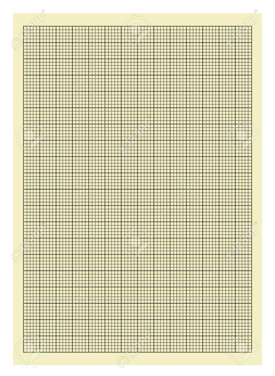 yellow and black lined graph paper isolated on white background