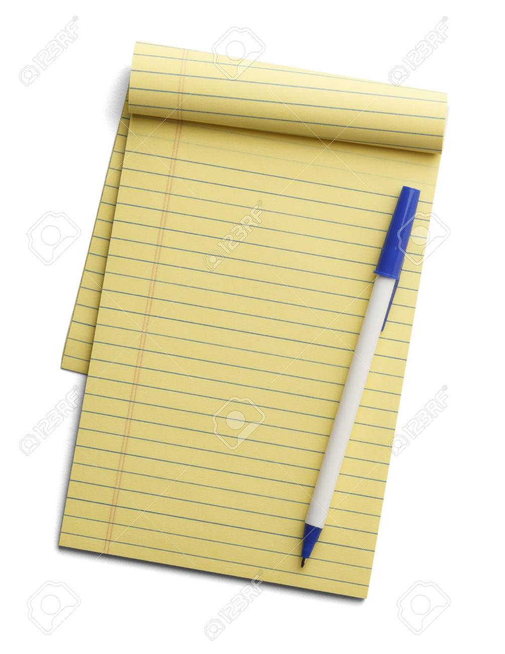 Yellow line notepad with pen on top isolated on a white background. - 38386723