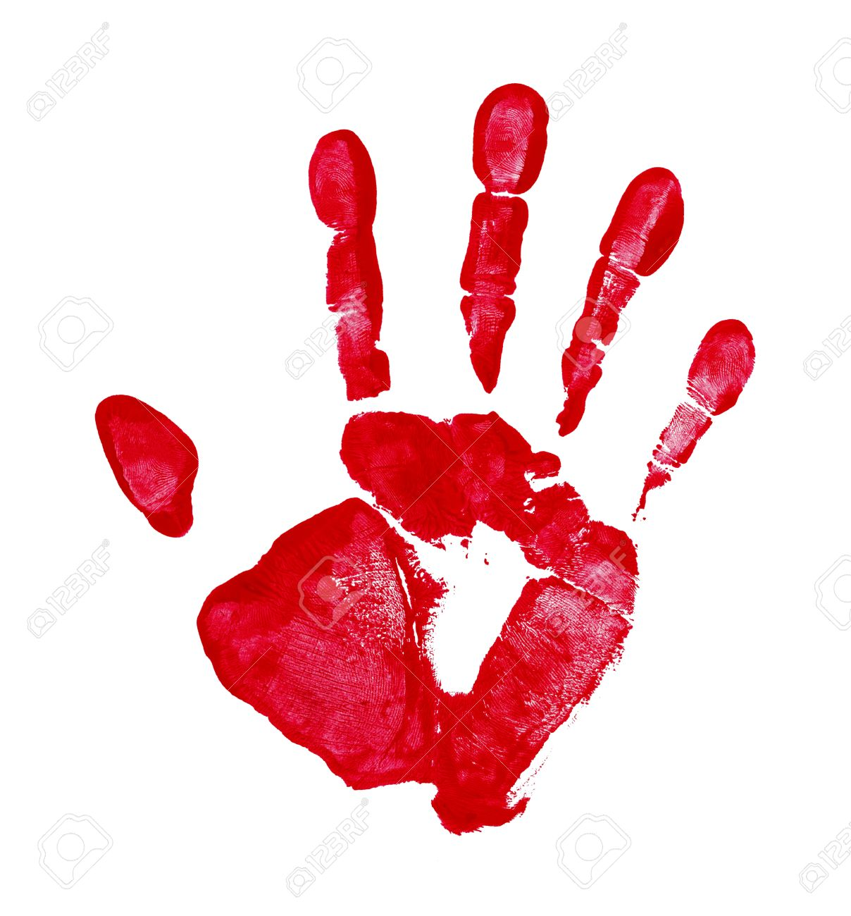 red paint hand print isolated on a white background stock photo