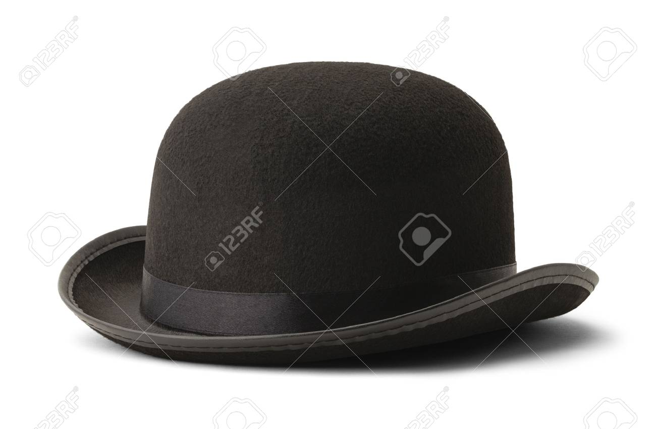 e8e9ea0a7d5 Black Bowler Hat Side View Isolated on White Background. Stock Photo -  57911897