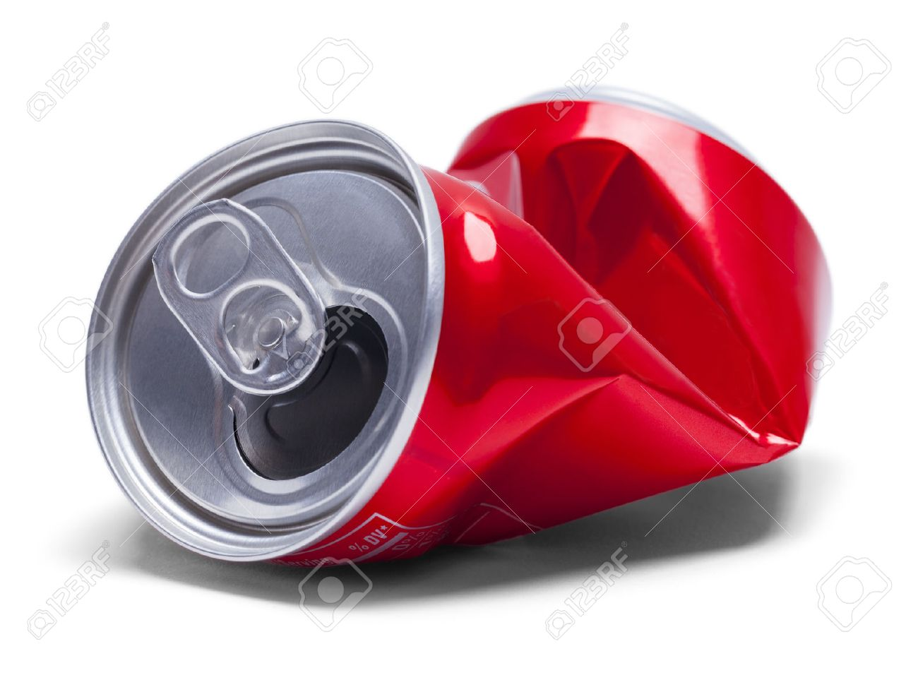 Empty Smashed Soda Pop Can Isolated on White Background. - 59180510