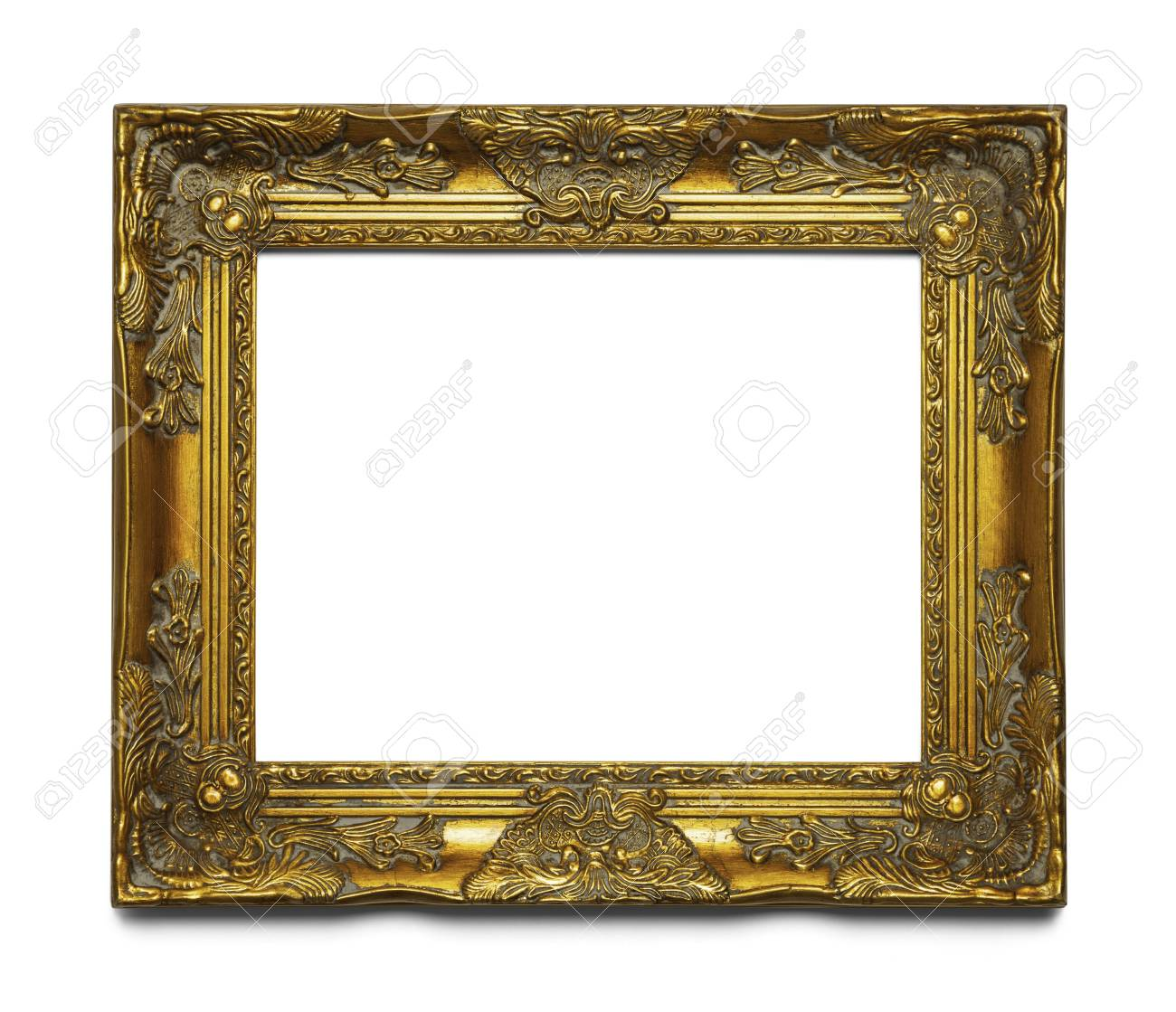 Old Gold Leaf Ornate Frame Isolated On White Background. Stock Photo ...