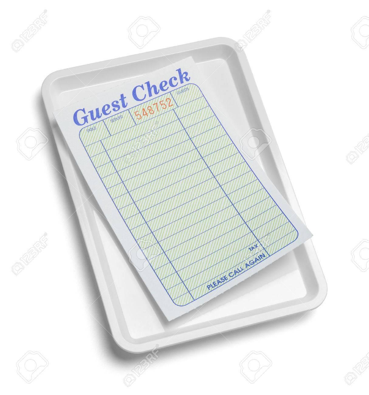 bandeja de recibo con la verificación en blanco de visitantes