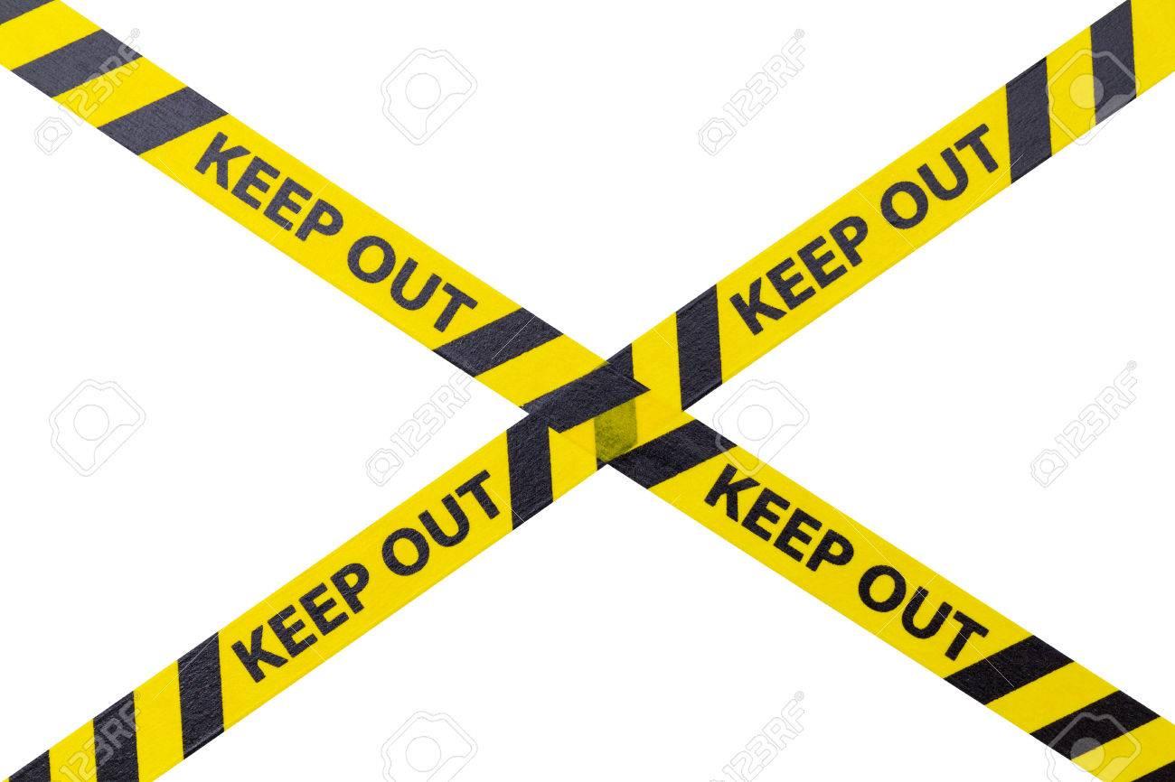 Häufig Gelb Keep Out Absperrband Auf Weißem Hintergrund. Lizenzfreie KR56