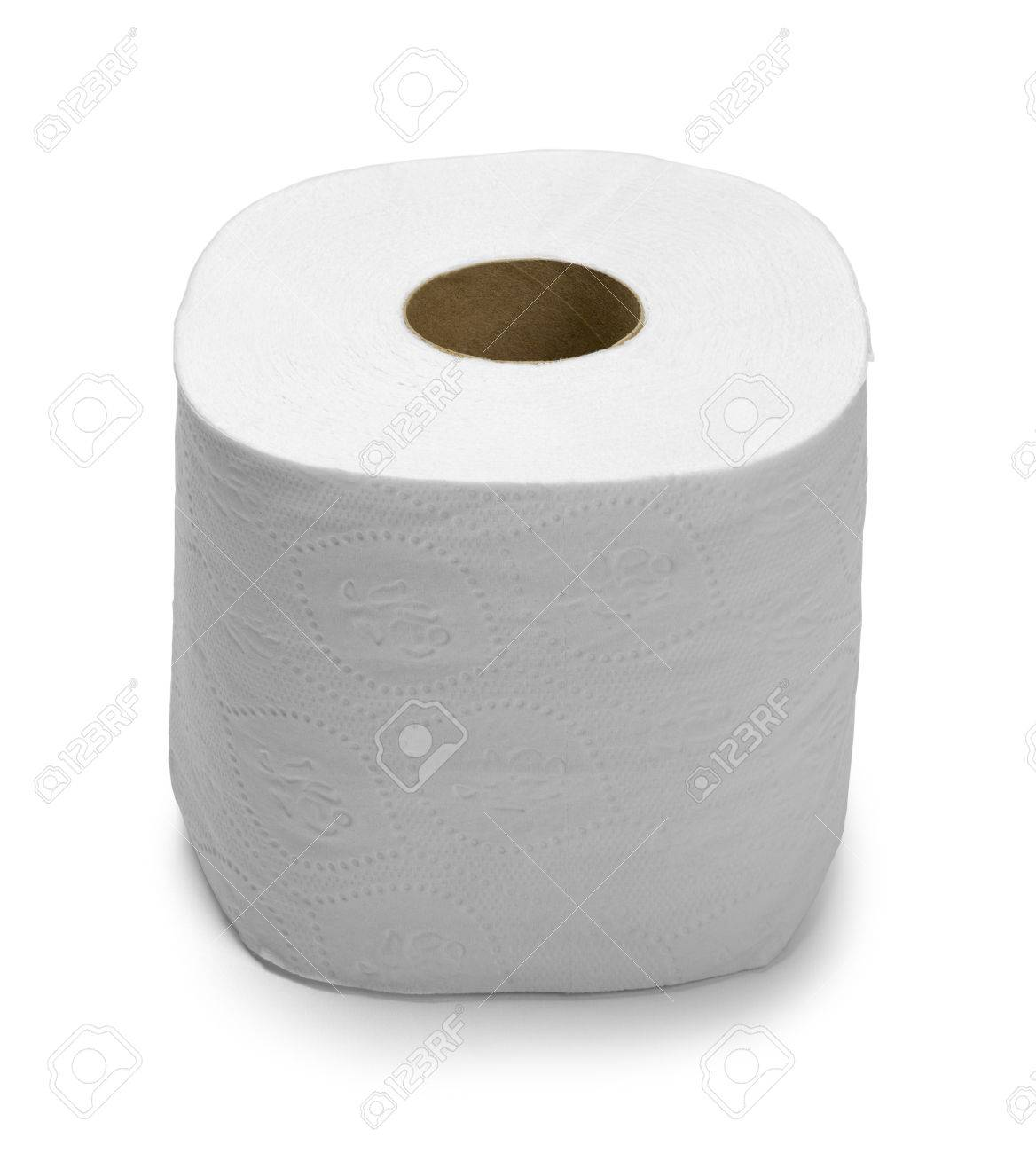 New Large Roll Of Toilet Paper Isolated On White Stock Photo