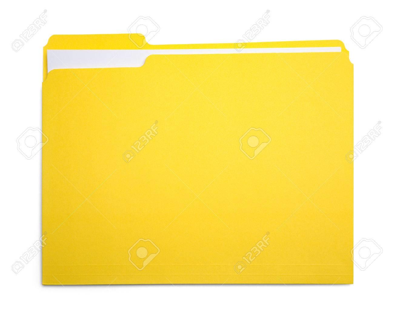 Closed Yellow File Folder Isolated on White Background. - 84062805