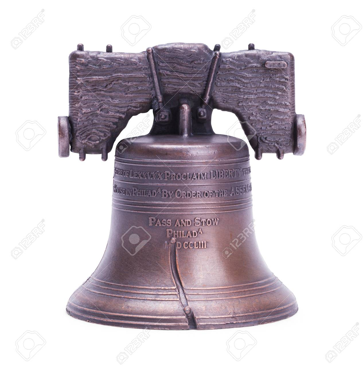 Liberty Bell Replica Cut Out on White. - 94248461