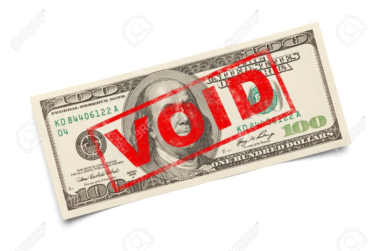 Void Stamp On One Hundred Dollar Bill Isolated White Stock Photo