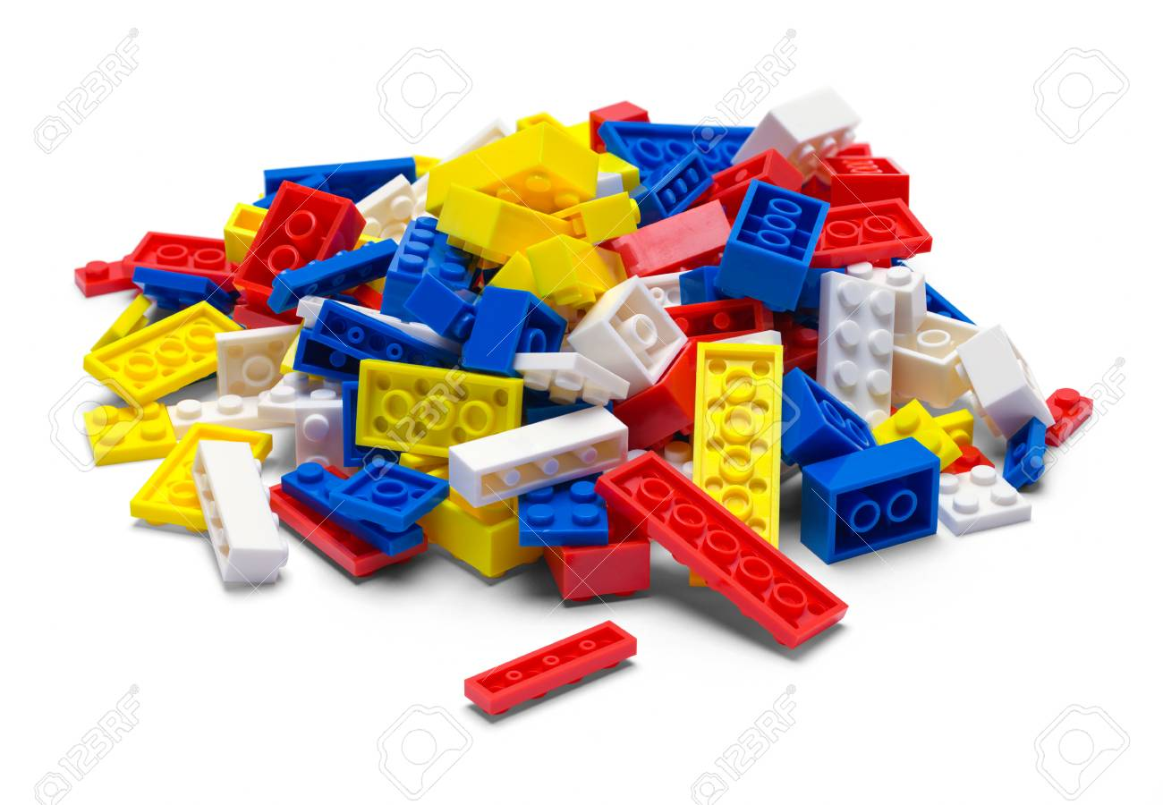 Small Pile of Plastic Toy Blocks Isolated on White. - 112043172