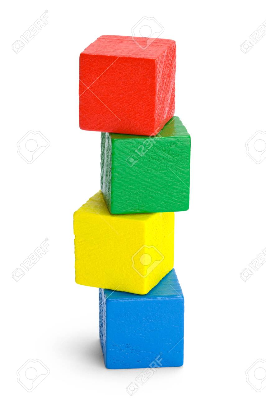 Stack of Four Colored Wood Blocks Isolated on White Background. - 125207484